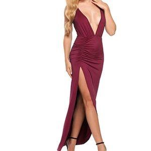 Dresses & Skirts - V Neck Spaghetti Strap High Split Long Dress
